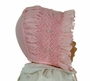 NEW Will'Beth Pink Smocked Bonnet with Pink Embroidered Rosebuds