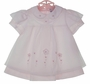 "<img src=""https://p11.secure.hostingprod.com/@grammies-attic.com/ssl/images/blue-sold-1.gif""> NEW Carriage Boutiques Pink Baby Dress with White Appliqued Voile Overlay"