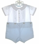 "<img src=""https://p11.secure.hostingprod.com/@grammies-attic.com/ssl/images/blue-sold-1.gif""> NEW Feltman Brothers Blue and White Button On Shorts Set with Inverted Pleats and Blue Embroidery"