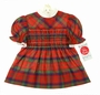 "<img src=""http://site.grammies-attic.com/images/blue-sold-1.gif""> NEW Polly Flinders Red Plaid Smocked Dress with White Eyelet Trimmed Collar and Cuffs"