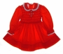 "<img src=""https://p11.secure.hostingprod.com/@grammies-attic.com/ssl/images/blue-sold-1.gif""> Polly Flinders Red Smocked Toddler Dress with Embroidered Flowers and Eyelet Edged Collar"