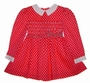 "<img src=""https://p11.secure.hostingprod.com/@grammies-attic.com/ssl/images/blue-sold-1.gif""> Polly Flinders Bright Pink Dotted Smocked Toddler Dress with White Collar"
