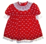 Polly Flinders Red Velvet Toddler Dress with Bows and Lacy Ruffles