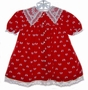 "<img src=""https://p11.secure.hostingprod.com/@grammies-attic.com/ssl/images/blue-sold-1.gif""> Polly Flinders Red Velvet Baby Dress with Bows and Lace Collar"
