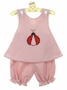"<img src=""https://p11.secure.hostingprod.com/@grammies-attic.com/ssl/images/blue-sold-1.gif""> NEW C. I. Castro Red Striped Sunsuit with Ladybug Applique and Matching Sunhat"