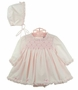 NEW Sarah Louise Pink Smocked Dress, Bonnet, and Diaper Cover with Ruffles and Bows