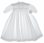 "<img src=""https://p11.secure.hostingprod.com/@grammies-attic.com/ssl/images/blue-sold-1.gif""> NEW Baby Dove White Smocked Christening Gown with Pintucks and Embroidery"