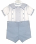 "<img src=""https://p11.secure.hostingprod.com/@grammies-attic.com/ssl/images/blue-sold-1.gif""> NEW Feltman Brothers Blue and White Button On Shorts Set with Nautical Embroidery"