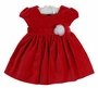 NEW Katie and Company Red Velvet Dress with Sweetheart Neckline and Removable White Organza Flower Trim