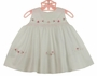 NEW Sarah Louise White Sleeveless Smocked Dress with Pink Flowers, Bows and Tiny Beads