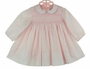 NEW Sarah Louise Pink Batiste Dress with Pink Embroidery and Pink Scalloped Collar