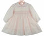 NEW Sarah Louise Pink Voile Smocked Dress with Embroidered Eyelet Collar and Delicate Crystal Beading