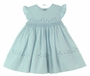 NEW Sarah Louise Blue Flowered Smocked Dress with Embroidered Flowers and Pinafore Sleeves
