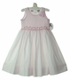 NEW Sarah Louise Pink Dotted Smocked Dress with Pink Embroidered Flowers