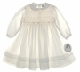 "<img src=""http://site.grammies-attic.com/images/blue-sold-1.gif""> NEW Sarah Louise Ivory Smocked Toddler Dress with Peach Rosebuds and Beading"