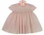 NEW Sarah Louise Pink Smocked Dress with Scalloped Embroidered Sleeves and Neckline