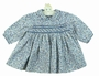 NEW Sarah Louise Blue Flowered Smocked Dress with Blue Embroidered Trim