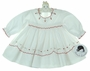 NEW Sarah Louise White Smocked Dress with Red Scallops and Embroidered Flowers