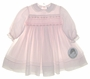 "<img src=""http://site.grammies-attic.com/images/blue-sold-1.gif""> NEW Sarah Louise Pale Pink Voile Smocked Dress with Rosebud Embroidery and Lace Trimmed Collar"