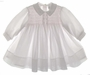 "<img src=""https://p11.secure.hostingprod.com/@grammies-attic.com/ssl/images/blue-sold-1.gif""> NEW Sarah Louise White Voile Smocked Baby Dress with Pink Smocking and Rosebuds"