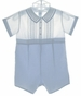 "<img src=""http://site.grammies-attic.com/images/blue-sold-1.gif""> NEW Feltman Brothers Blue and White Romper with Pintucks, Fagoting, and Embroidery"