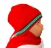 "<img src=""https://p11.secure.hostingprod.com/@grammies-attic.com/ssl/images/blue-sold-1.gif""> NEW Red Knit Hat with Attached Scarf with Holiday Applique"