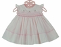 NEW Sarah Louise Pink Smocked Dress with Angel Sleeves and Cherry Embroidery