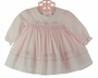 NEW Sarah Louise Pink Batiste Smocked Dress with Pink Embroidered Hearts and Flowers