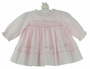 NEW Sarah Louise Pink Smocked Dress with Pastel Flowers and Openwork