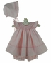 "<img src=""https://p11.secure.hostingprod.com/@grammies-attic.com/ssl/images/blue-sold-1.gif"">  NEW Sarah Louise Pink Hearts Print Smocked Pinafore Style Dress with Matching Bonnet"