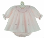 NEW Sarah Louise Pink Smocked Diaper Set with Rosebud Embroidery