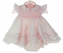 NEW Sarah Louise Pink Smocked Pinafore Dress with Rosebuds and Pink Bows