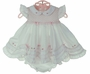NEW Sarah Louise White Smocked Pinafore Dress with Rosebuds and Pink Bows