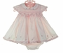 NEW Sarah Louise Pink Ruffled Dress with Smocking and Embroidered Flowers