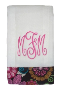 NEW Custom Monogrammed Baby Burp Cloth with Mod Floral Pink Fabric Trim