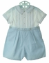 NEW Sarah Louise Blue and White Pintucked Button On Shorts Set with Blue Embroidery