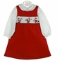 "<img src=""https://p11.secure.hostingprod.com/@grammies-attic.com/ssl/images/blue-sold-1.gif""> NEW Rare Editions Red Smocked Pinwale Corduroy Jumper Set with Santa Embroidery"