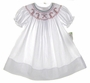"<img src=""https://p11.secure.hostingprod.com/@grammies-attic.com/ssl/images/blue-sold-1.gif""> NEW Rosalina White Bishop Smocked Dress with Candy Cane Embroidery"
