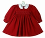 "<img src=""https://p11.secure.hostingprod.com/@grammies-attic.com/ssl/images/blue-sold-1.gif""> NEW Red Smocked Pincord Cotton Dress with White Collar"