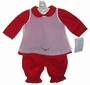 NEW Willbeth Red Pantaloon Set with White Embroidered Pinafore Overlay and Matching Bonnet