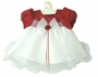 NEW Rare Editions Red Satin Baby Dress with White Ruffled Organdy Skirt