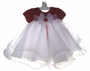NEW Rare Editions Red Velvet Baby Dress with White Ruffled Organdy Skirt