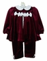 NEW Rare Editions Burgundy Velvet Pants Set with Ivory Bows