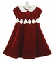 NEW Rare Editions Red Velvet Dress with Ivory Collar and Bows