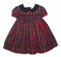 "<img src=""https://p11.secure.hostingprod.com/@grammies-attic.com/ssl/images/blue-sold-1.gif""> NEW Rare Editions Red Plaid Smocked Dress with Blue Velvet Collar"