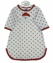NEW Bailey Boys White Gown with Red Dots and Santa Applique