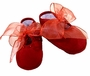 NEW Will'Beth Dark Red Cotton Pique Shoes with Beaded Trim and Organdy Ties
