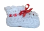 NEW White Crocheted Booties with Lace Trim and Delicate Red Rosebud Embroidery