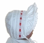 NEW White Pintucked Bonnet with Eyelet Trim and Red Satin Ribbon Insertion