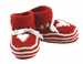 """<img src=""""http://site.grammies-attic.com/images/blue-sold-1.gif""""> NEW Red Striped Hand Knit Booties with Hearts"""